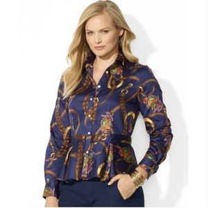 NWT Ralph Lauren Equestrian Peplum Button Down Top